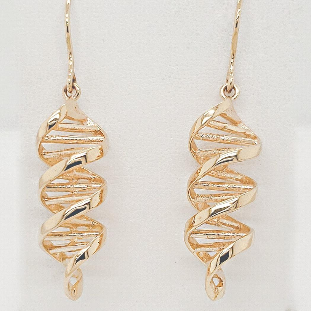 Double Helix DNA Spiral Earrings