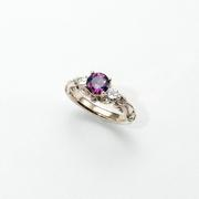 Fancy Magenta Sapphire ring, Sapphire cut by David Brackna