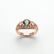 Blue/Green Montana sapphire ring with diamonds