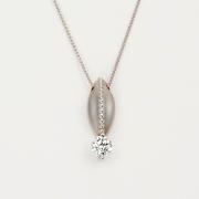 Diamond Bean Pendant in White Gold