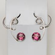'Front and Back' Earrings Facted Fine Rhodolite Garnet