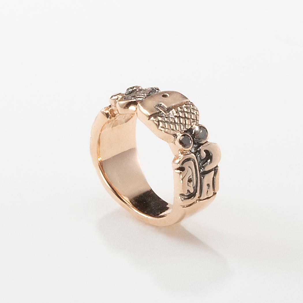 Soul Mate ring with carved Mayan designs
