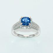 Cushion Cut Royal Blue Sapphire and Diamond Ring
