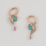 Blue Topaz and Pink Sapphire Swirl Earrings