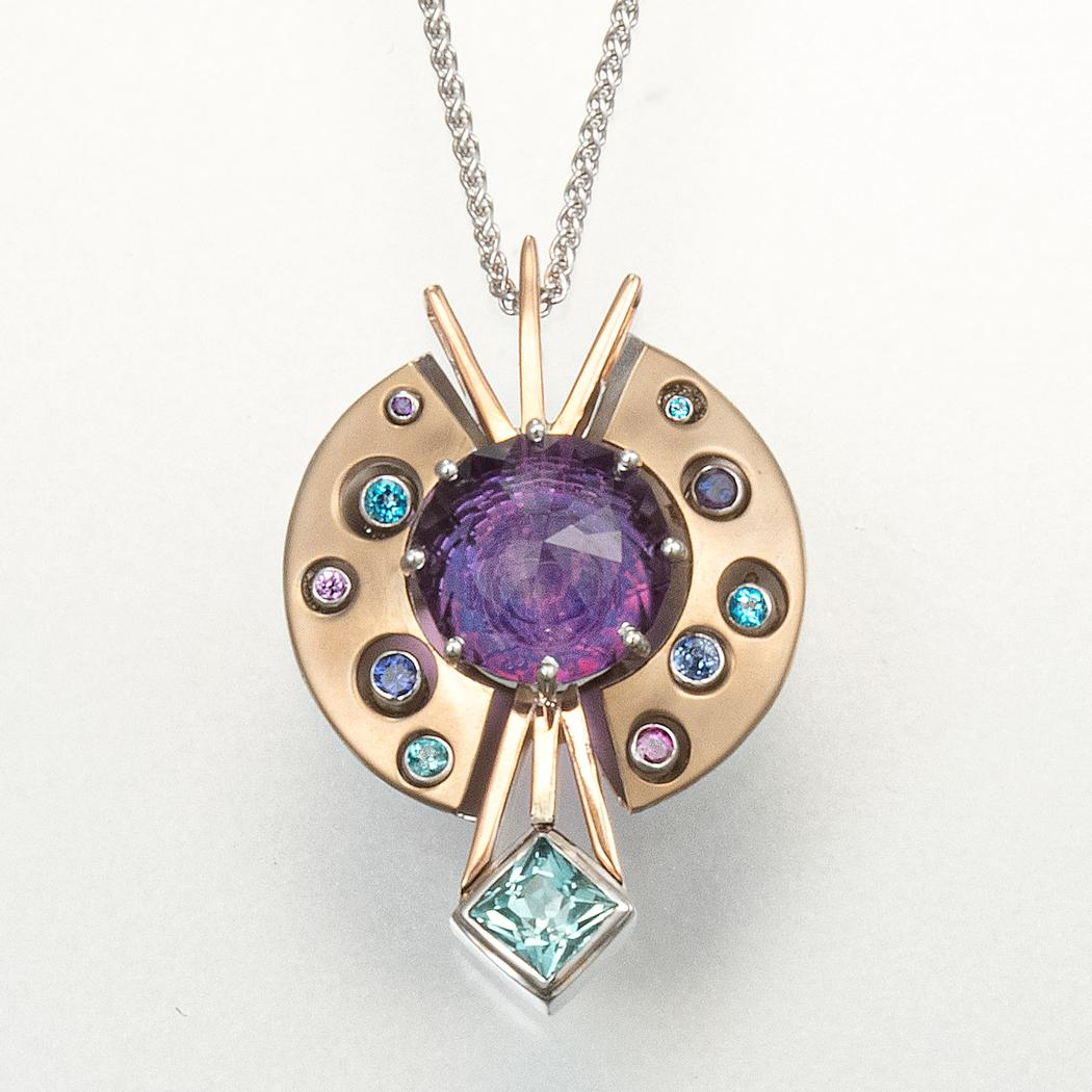 Optical Inlay Amethyst Pendant, cut by David Brackna