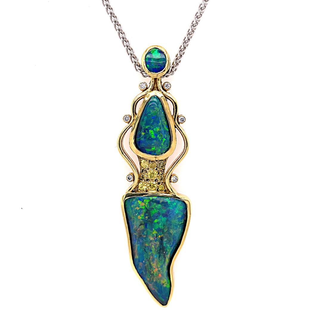 Black Opal and Fancy Yellow Diamond Pendant in 18kt Yellow Gold