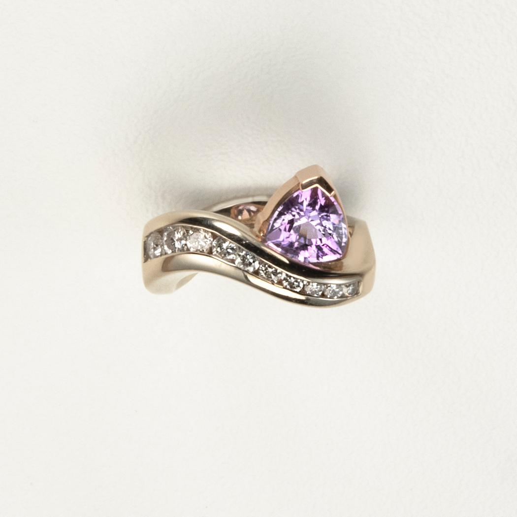 Natural/Untreated Purple Sapphire and Diamond Ring