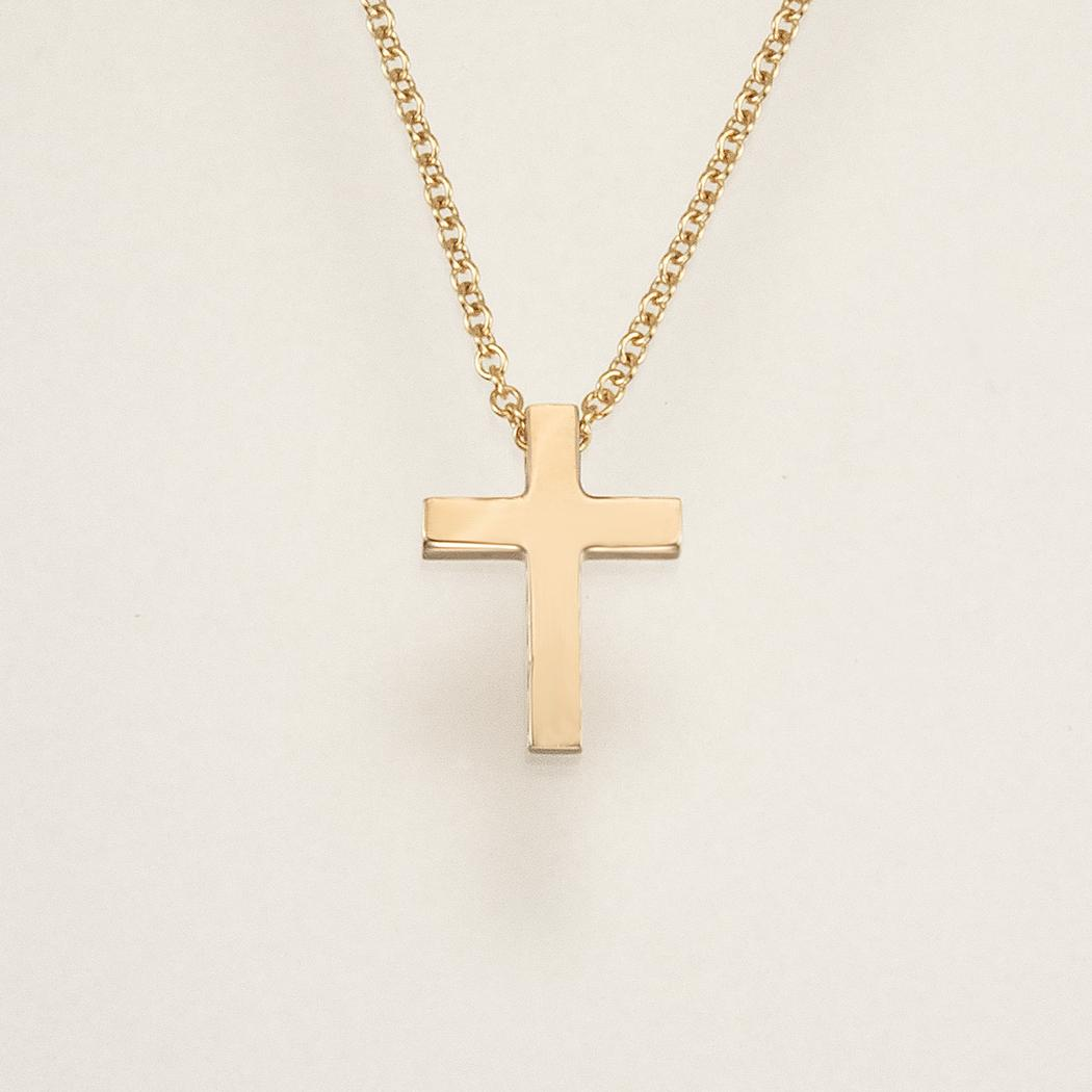 Thick gold cross pendant and chain