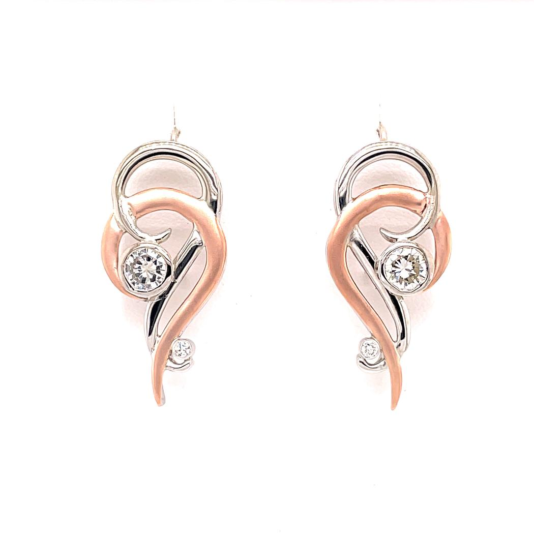 Diamond Swirl Earrings with Sandblasted Rose Gold Finish